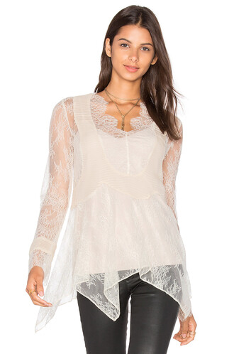 blouse chiffon lace beige top