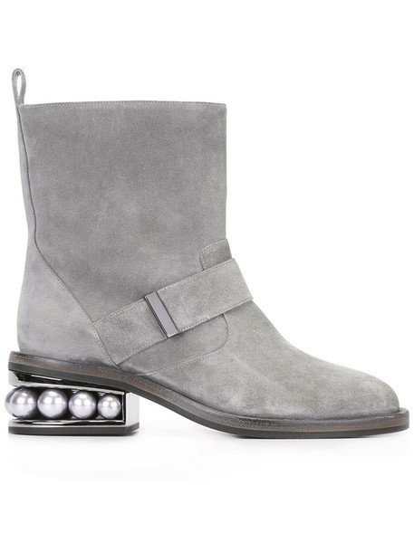 Nicholas Kirkwood biker boots women pearl leather suede grey shoes