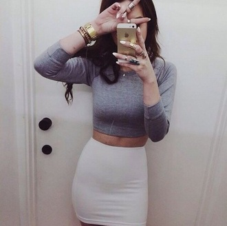 blouse beige skirt grey shirt