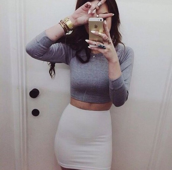 grey shirt beige skirt