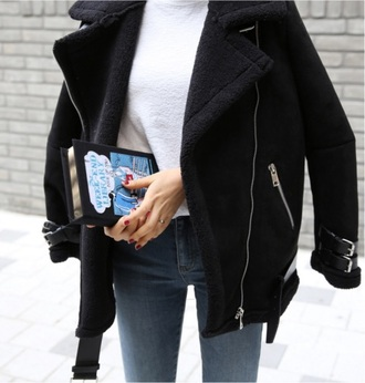 coat black jacket cute warm winter coat winter outfits zip fur aviator sunglasses