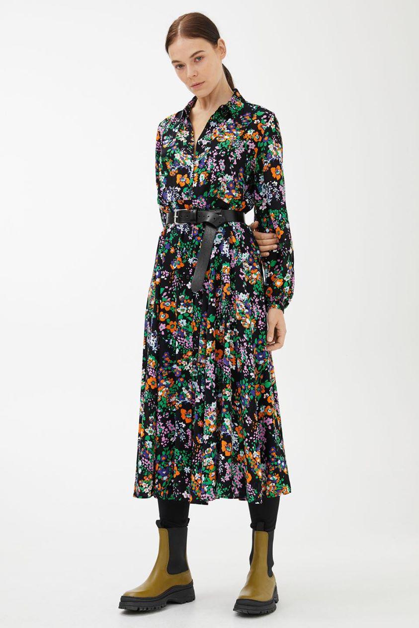 Fluid Long-Sleeved Shirt Dress