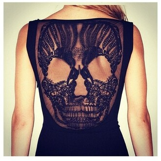 dress sheer lace lace dress skull blue skirt shirt black t-shirt skull t-shirt tank top want to find!!