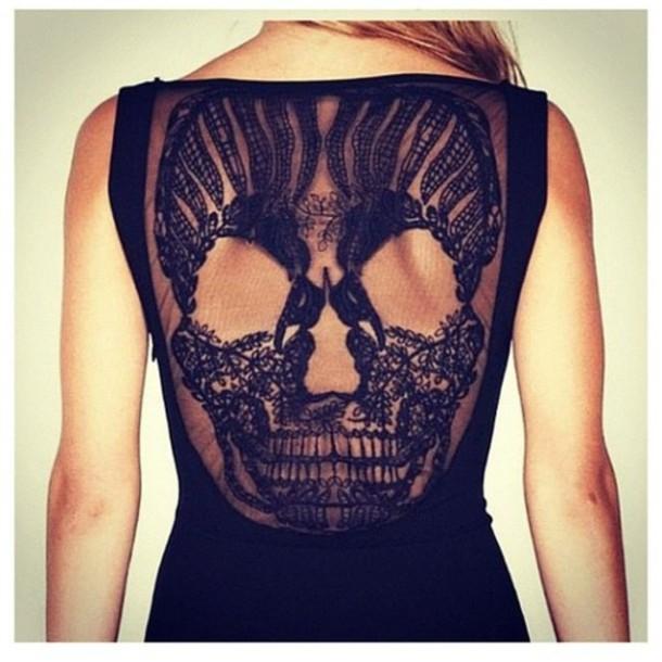 Dress: sheer, lace, lace dress, skull, skull, blue skirt ...