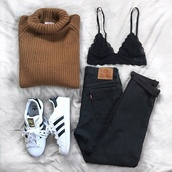 sweater,adidas superstars,adidas,adidas shoes,adidas originals,jeans,black jeans,high waisted jeans,cropped jeans,black,black and white,bralette,black bralette,turtleneck,turtleneck sweater,oversized turtleneck sweater,t-shirt,pants