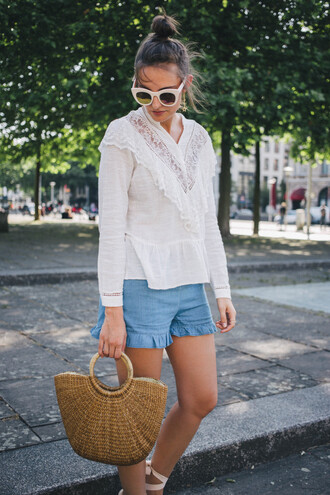 top blouse tumblr white blouse white top sunglasses white sunglasses bag basket bag shorts denim denim shorts