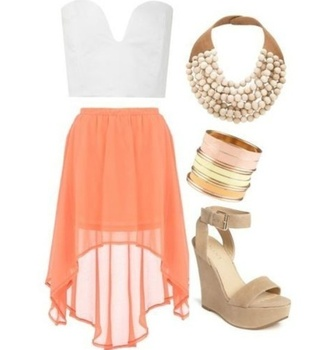 shirt crop tops sweetheart neckline plunge v neck white bralette tube top skirt high low skirt coral flowy sheer bold necklace tan wedges jewels shoes chiffon skirt beige nude wedge
