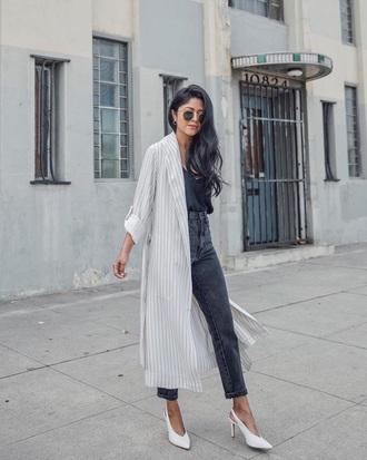 shoes white shoes slingbacks white heels top black top coat white coat striped coat heels jeans