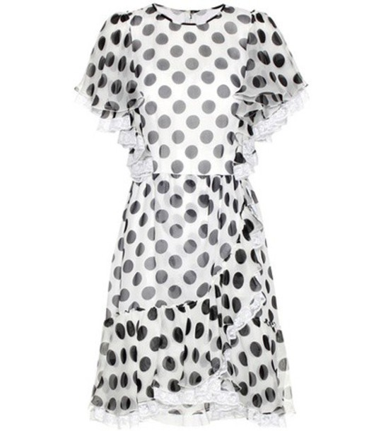 Dolce & Gabbana Polka-dotted Silk Dress in white