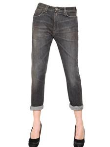 Jeans boyfriend in denim stretch lavato