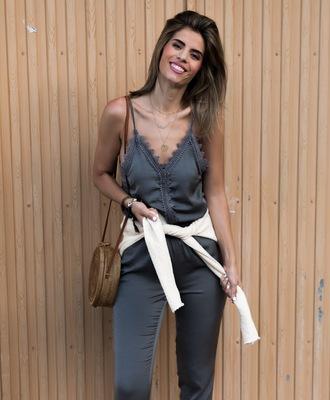 ms treinta blogger jumpsuit shoes bag round bag summer outfits