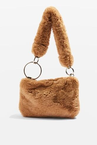 fur faux fur bag shoulder bag camel