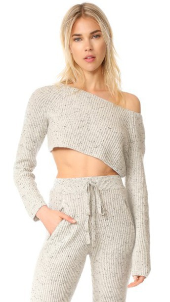 Baja East sweater cropped sweater cropped light grey