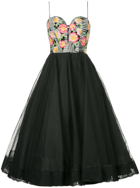 dress tulle dress women floral black silk