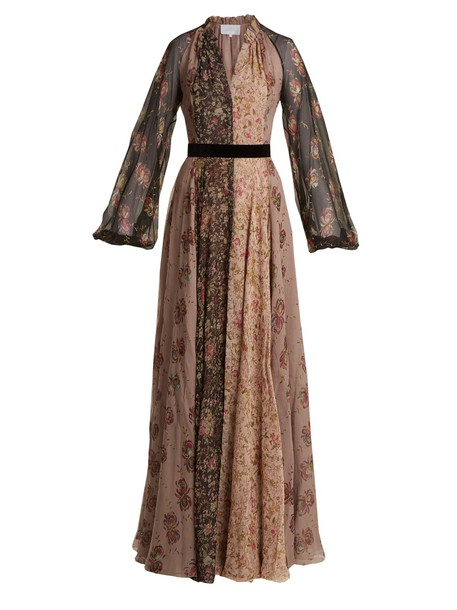 LUISA BECCARIA gown chiffon floral print silk black pink dress