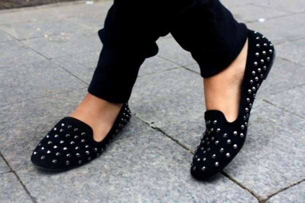 flats studs black shoes