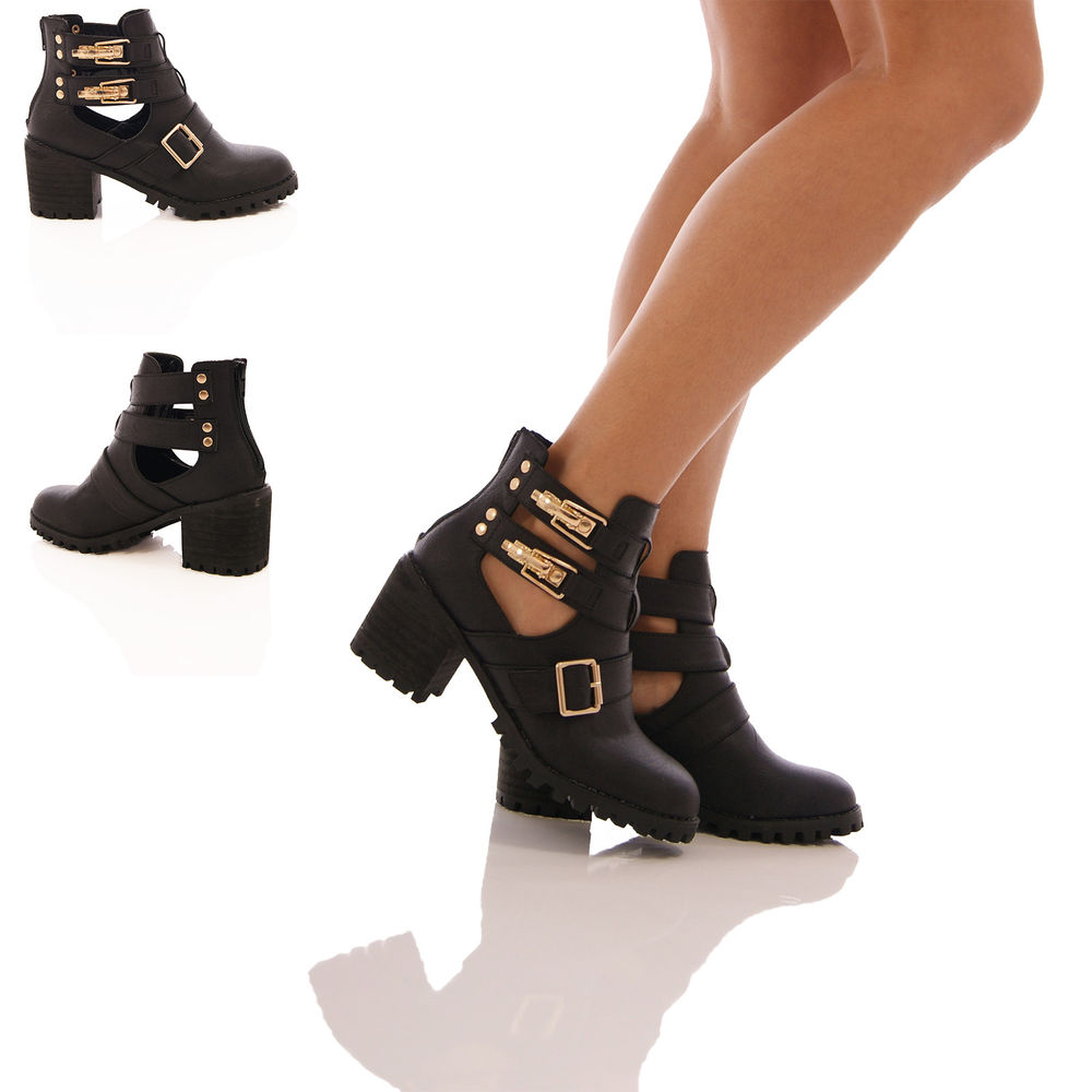 LADIES WOMENS CHUNKY CUT OUT ANKLE BOOTS GOLD BUCKLE BLOCK HEEL SHOES SIZE
