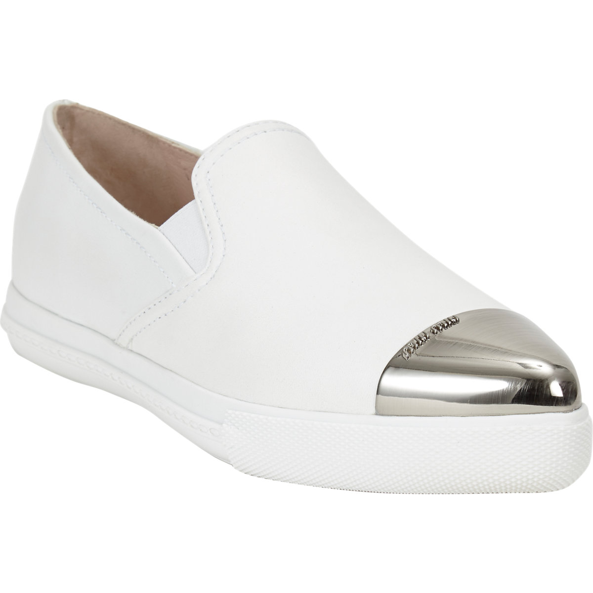 Miu Miu Metal Captoe Slip-on Sneakers at Barneys.com