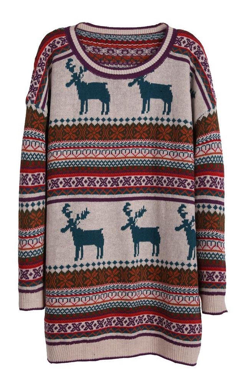 Amazon.com: light khaki deer fair isle christmas pattern oversized sweater: clothing