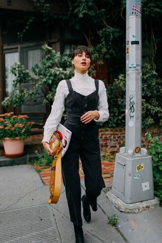 jumpsuit tumblr black jumpsuit overalls black overalls dungarees top white top boots black boots