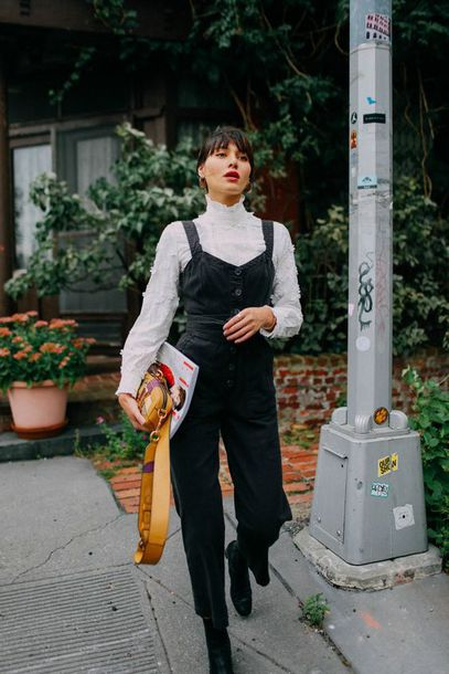 b37f8e5ca3 jumpsuit tumblr black jumpsuit overalls black overalls dungarees top white  top boots black boots