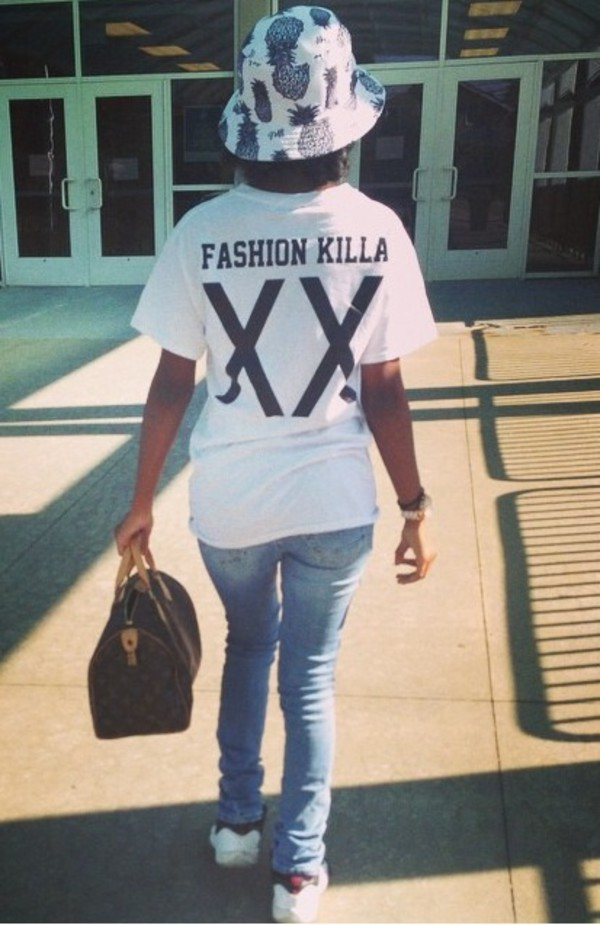 t-shirt black letters white fashion killa long shirt graphic tee