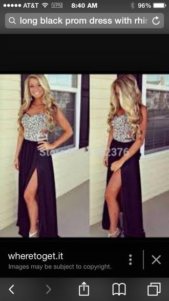 dress long prom dress black dress rhinestone dress