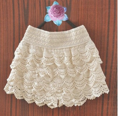 Free Shipping 2013 Hot Sale Korean Fashion Womens Sweet Cute Crochet Tiered Lace Mini Skirt Pants WF 024-in Shorts from Apparel & Accessories on Aliexpress.com