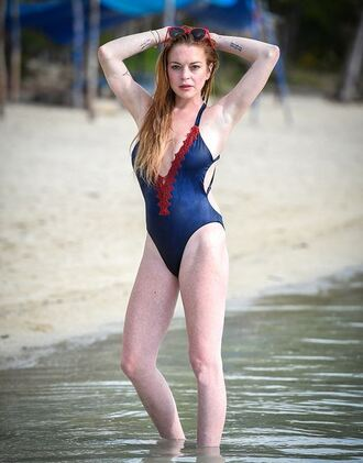 swimwear one piece swimsuit lindsay lohan summer beach plunge v neck blue swimwear