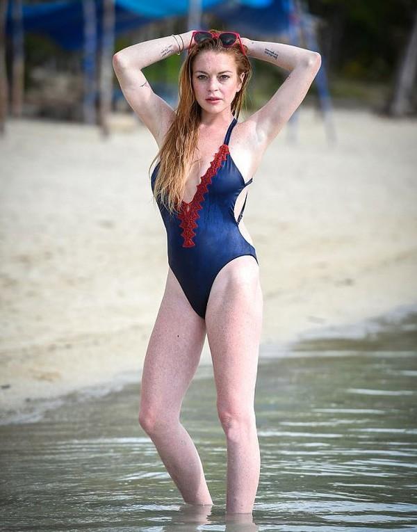 swimwear one piece swimsuit lindsay lohan summer beach plunge v neck blue swimwear