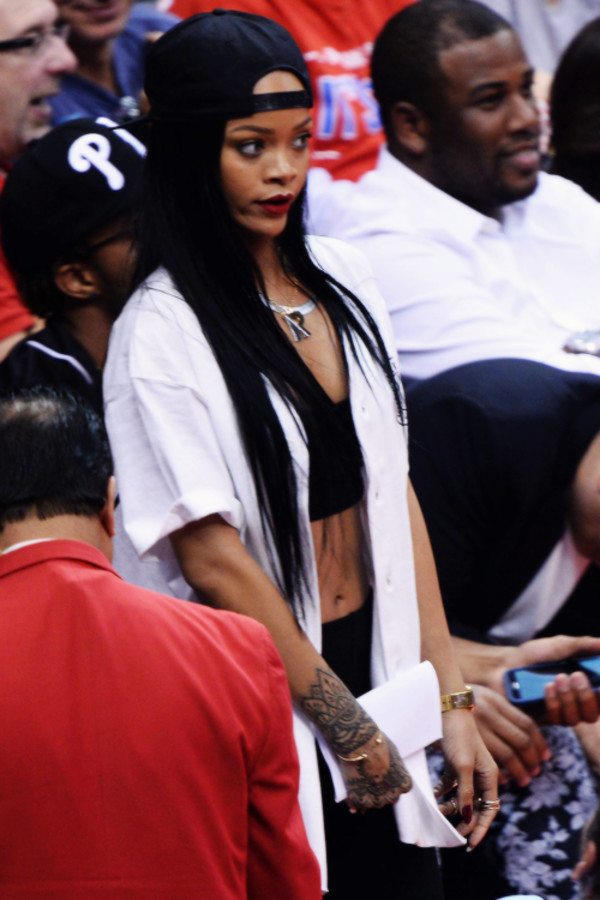 cardigan white black shirt rihanna hat