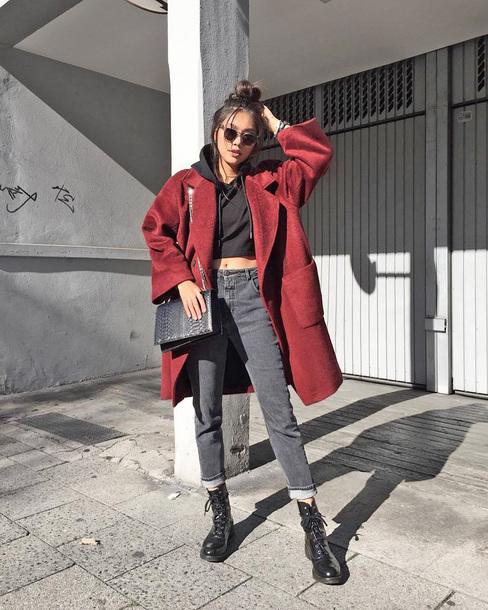 coat tumblr red coat oversized coat oversized denim jeans grey jeans cropped hoodie hoodie boots biker boots bag sunglasses
