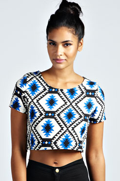 Penny Diamond Aztec Woven Crop Top at boohoo.com