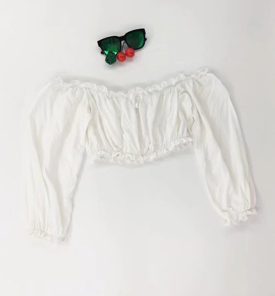 blouse girly white white top white crop tops off the shoulder off the shoulder top crop tops crop cropped