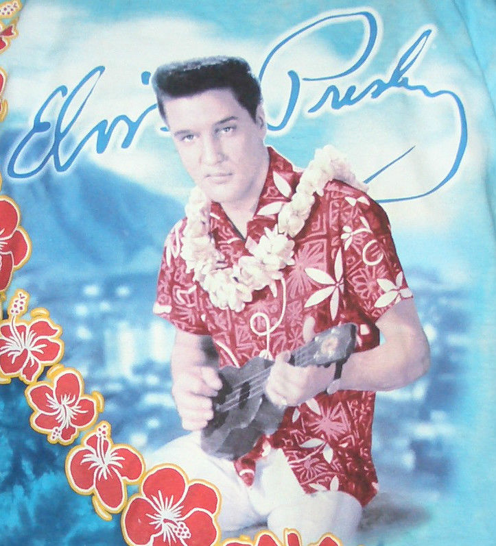"Vtg Elvis Presley ""Blue Hawaii"" Liquid Blue Retro T Shirt XXL 2XL Tye Dyed 