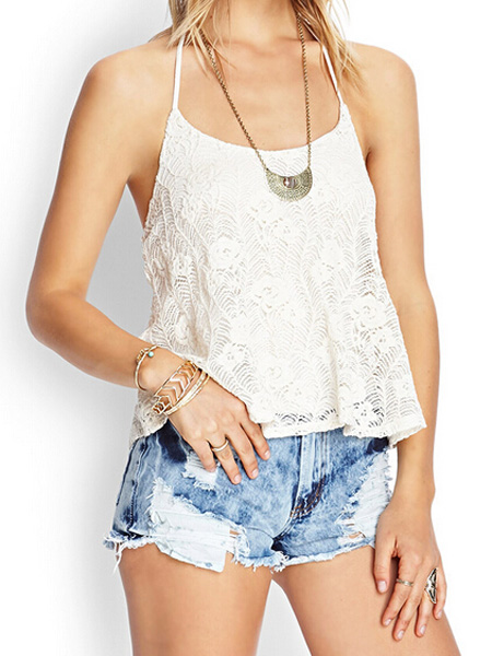 White hollow lace crochet halter tank top