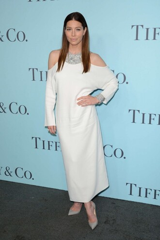 dress white white dress necklace jessica biel pumps midi dress off the shoulder statement necklace long sleeve dress