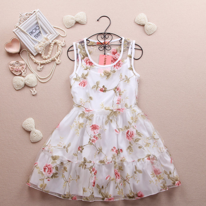 One piece dress summer women's ,gril fashion cute flower sleeveless dress, lady's cute dress summer-inDresses from Apparel & Accessories on Aliexpress.com