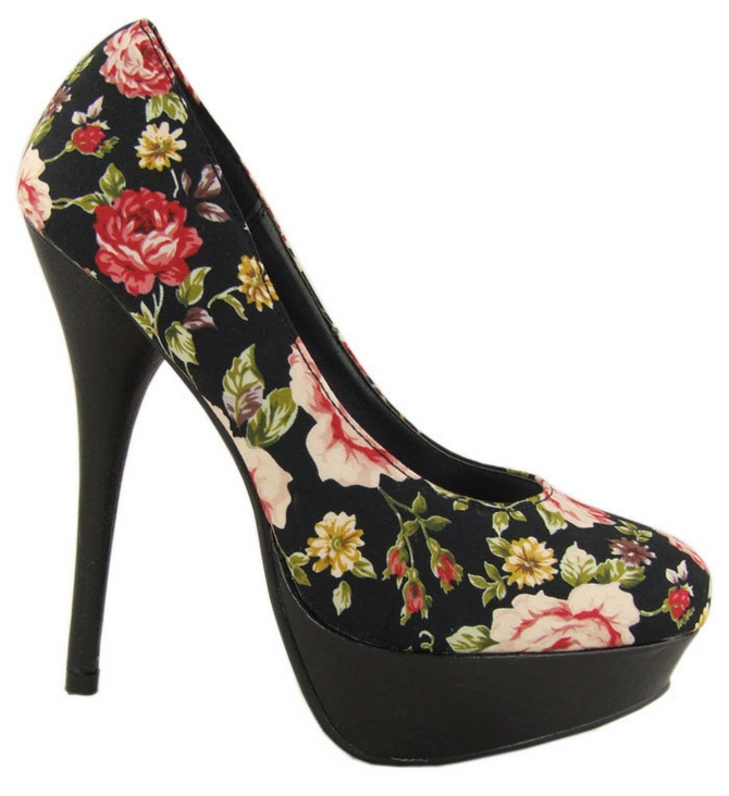 Black Floral High Heel Ladies Court Shoes, Ladies Fashion Shoes, Lady Shoes