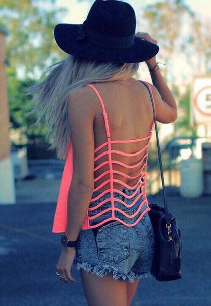 top peach pink style bohemian hippie summer top open back cute tank top neon pink fluo