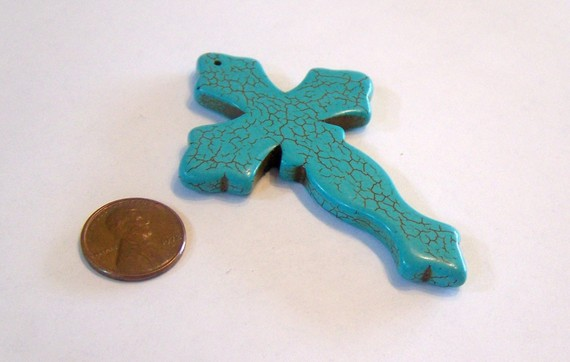 Curvy turquoise stone cross by fairymountainsupply on etsy