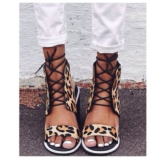 leopard print lace shoes high heels wedges