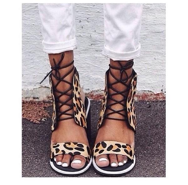 leopard print lace shoes heels wedges