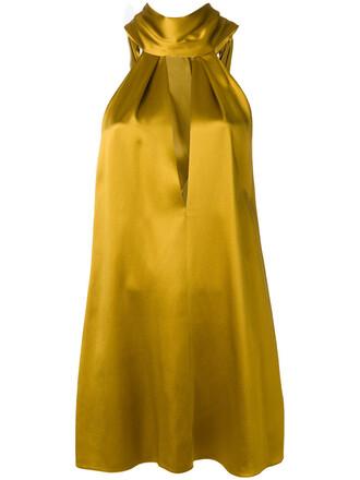 dress cocktail dress women silk yellow orange