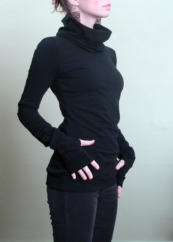 turtleneck cowl top with thumb hole sleeves in Black by joclothing