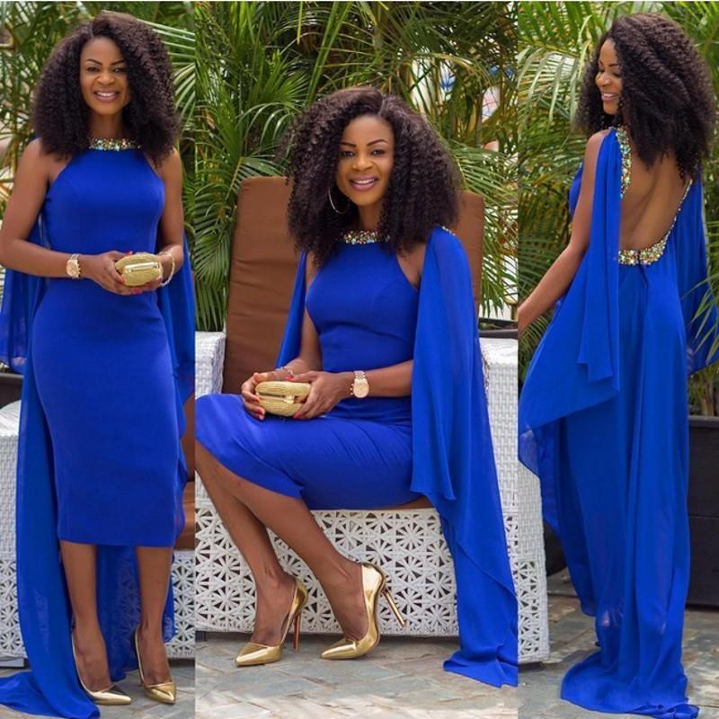 Royal Blue Backless Formal Evening Party Dresses Gowns 2016 Africa ...