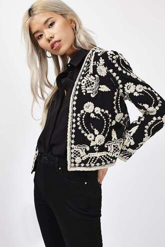 jacket embroidered black and white