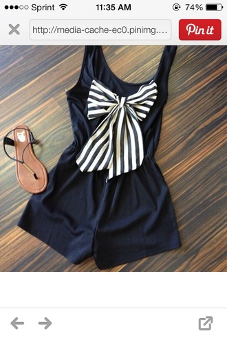 dress black shorts clothes shirt romper navy girly bows stripes striped bow striped dress bow dress spring summer outfits style cute romper with a bow navy blue romper bow