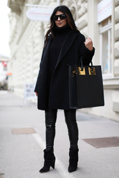 fashion landscape,blogger,black coat,leather bag,black bag,all black everything,shoes,sweater,coat,pants,sunglasses,bag,black leather pants,black sunglasses,masculine coat