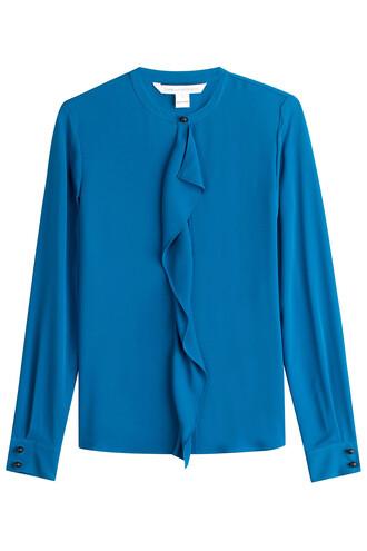shirt ruffle silk blue top